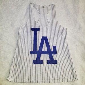 VS PINK LA Dodgers Striped Tank Top